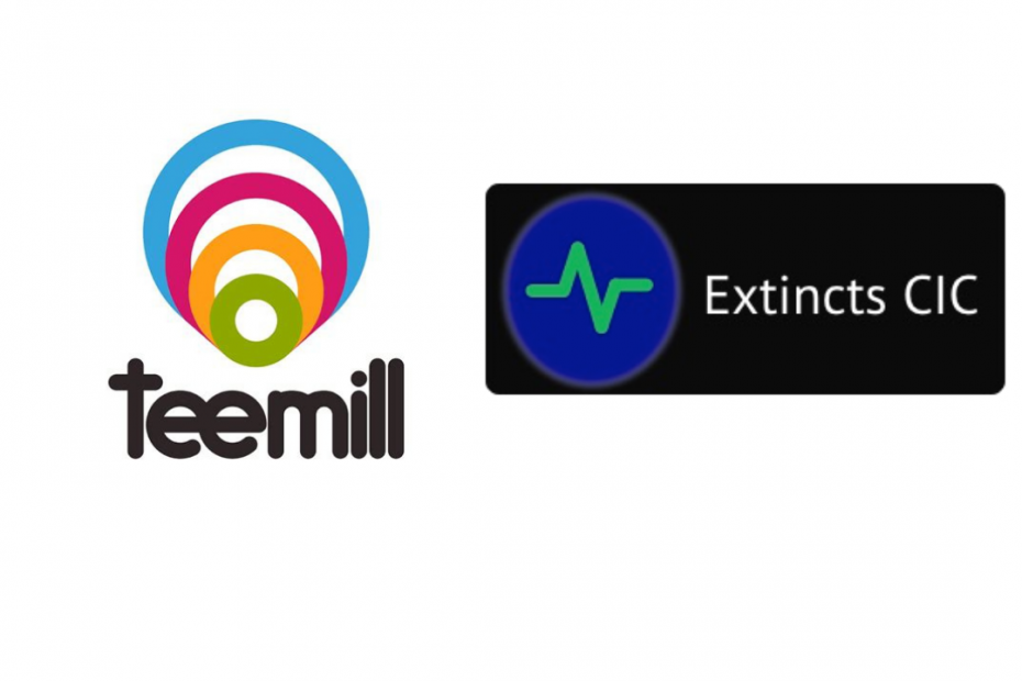 Extincts and teemill logos